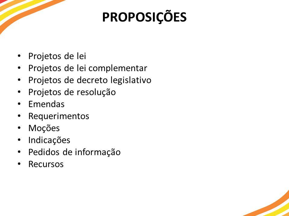 PROPOSIÇÕES Projetos de lei Projetos de lei complementar Projetos de decreto legislativo Projetos de resolução Emendas Requerimentos Moções Indicações Pedidos de informação Recursos