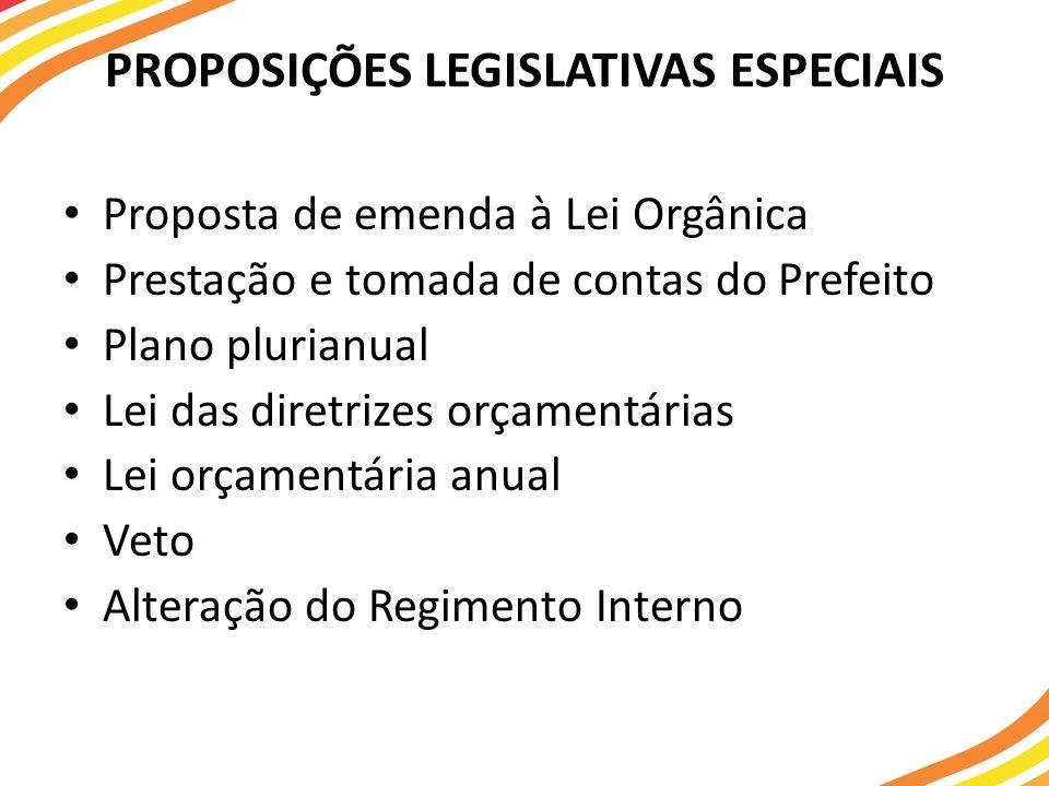 PROPOSIÇÕES LEGISLATIVAS ESPECIAIS Proposta de emenda à Lei Orgânica Prestação e tomada de contas do Prefeito Plano plurianual Lei das diretrizes orçamentárias Lei orçamentária anual Veto Alteração do Regimento Interno