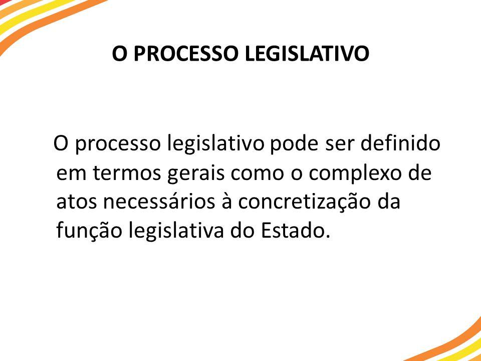 O PROCESSO LEGISLATIVO O processo legislativo pode ser definido em termos gerais como o complexo de atos necessários à concretização da função legislativa do Estado.
