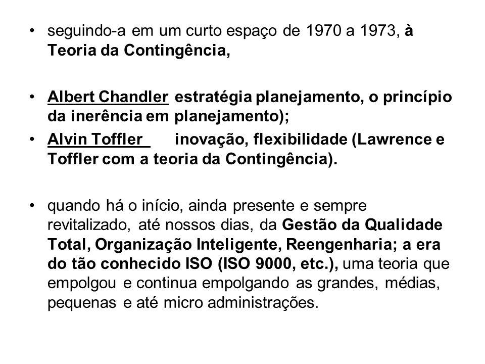 seguindo-a em um curto espaço de 1970 a 1973, à Teoria da Contingência, Albert Chandlerestratégia planejamento, o princípio da inerência em planejamen