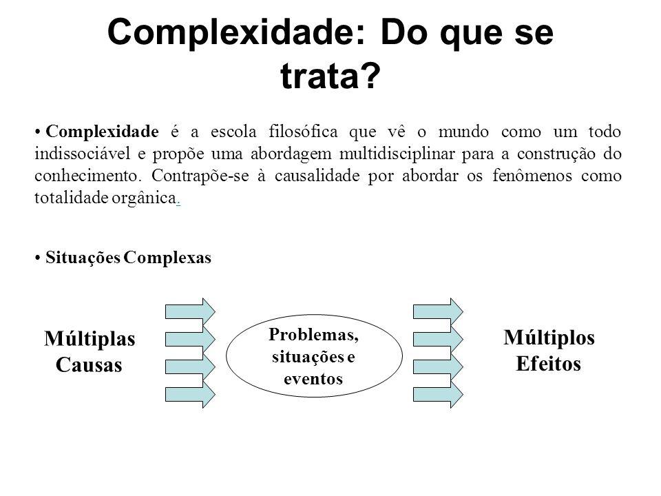Complexidade: Do que se trata? Complexidade é a escola filosófica que vê o mundo como um todo indissociável e propõe uma abordagem multidisciplinar pa
