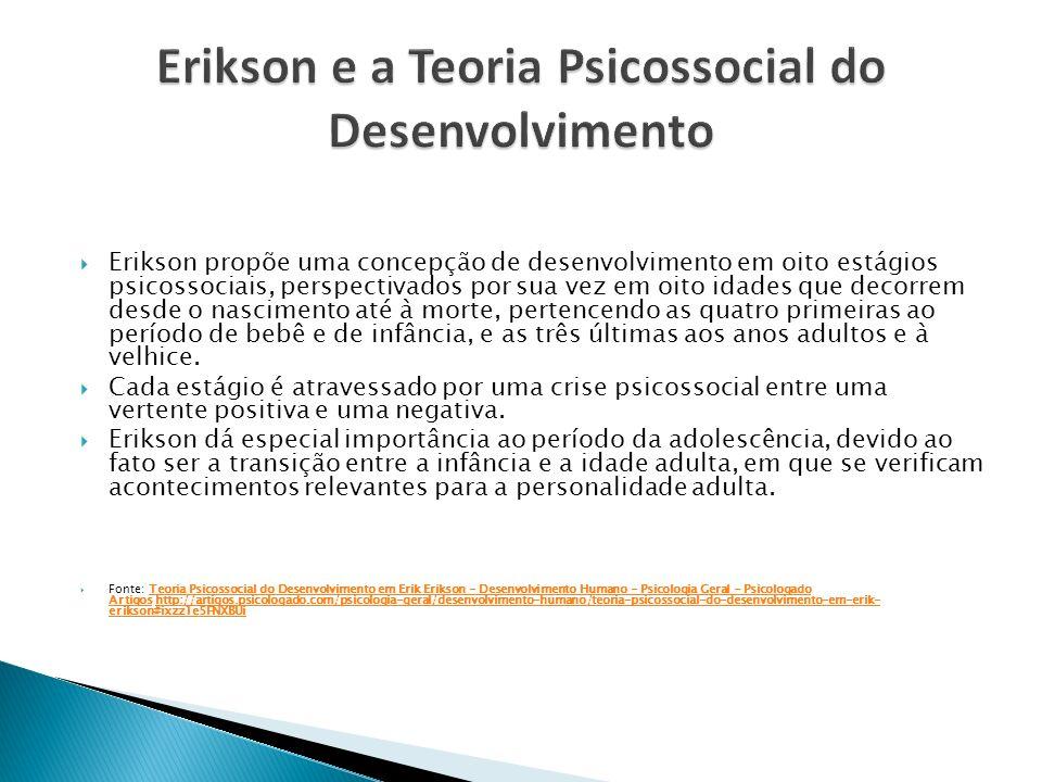 Erikson propõe uma concepção de desenvolvimento em oito estágios psicossociais, perspectivados por sua vez em oito idades que decorrem desde o nascime