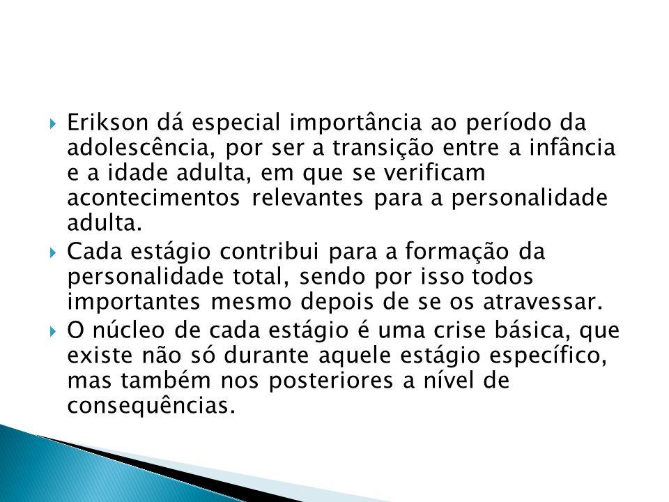 Erikson dá especial importância ao período da adolescência, por ser a transição entre a infância e a idade adulta, em que se verificam acontecimentos