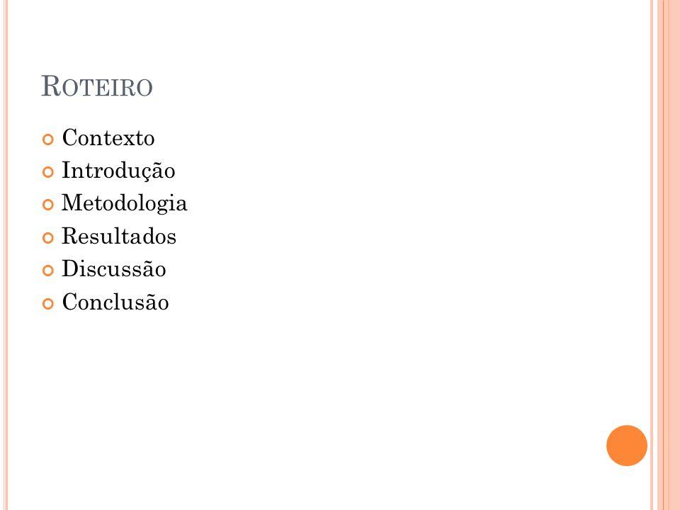 R OTEIRO Contexto Introdução Metodologia Resultados Discussão Conclusão