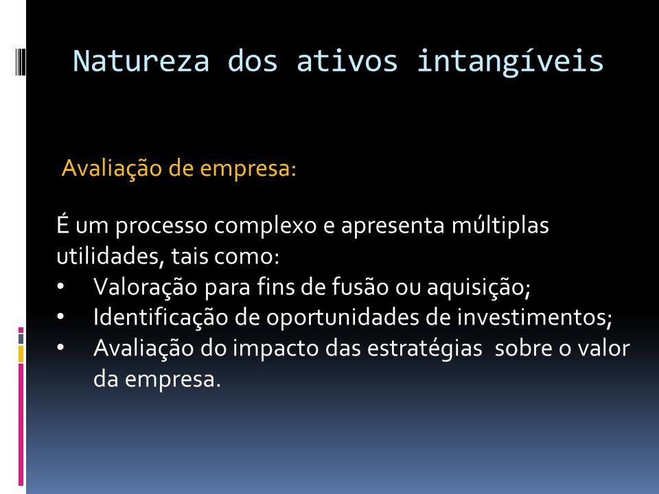 Natureza dos ativos intangíveis Avaliação de empresa: É um processo complexo e apresenta múltiplas utilidades, tais como: Valoração para fins de fusão