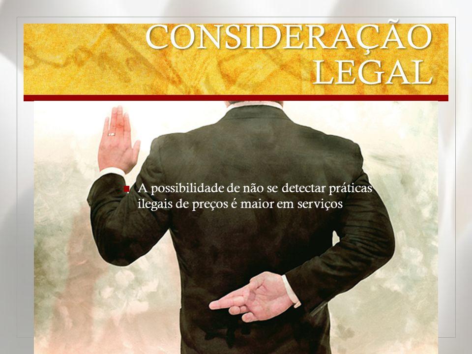 CONSIDERAÇÃO LEGAL A possibilidade de não se detectar práticas ilegais de preços é maior em serviços