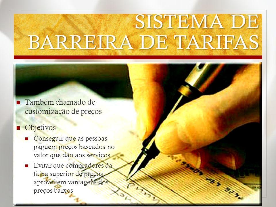 SISTEMA DE BARREIRA DE TARIFAS Também chamado de customização de preços Objetivos Conseguir que as pessoas paguem preços baseados no valor que dão aos