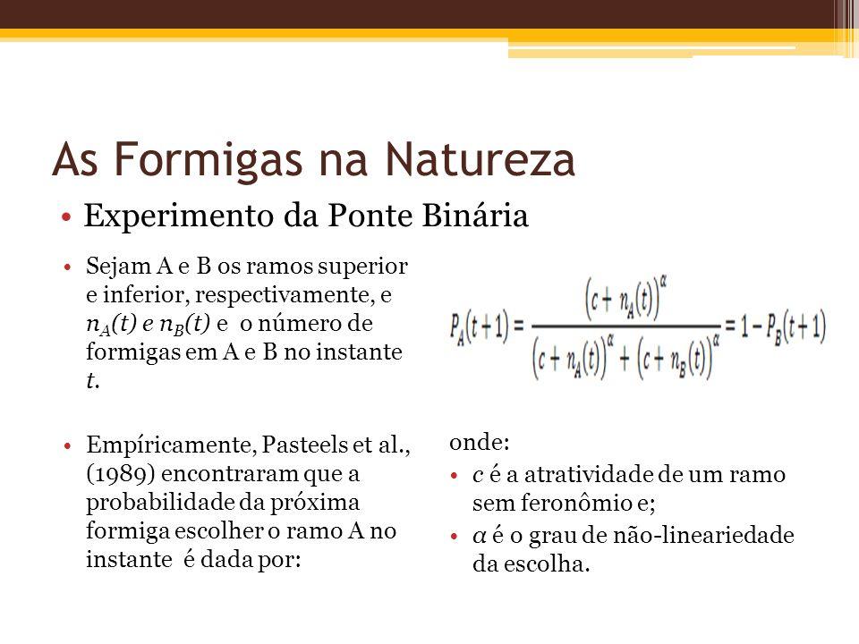 As Formigas na Natureza Experimento da Ponte Binária Sejam A e B os ramos superior e inferior, respectivamente, e n A (t) e n B (t) e o número de formigas em A e B no instante t.