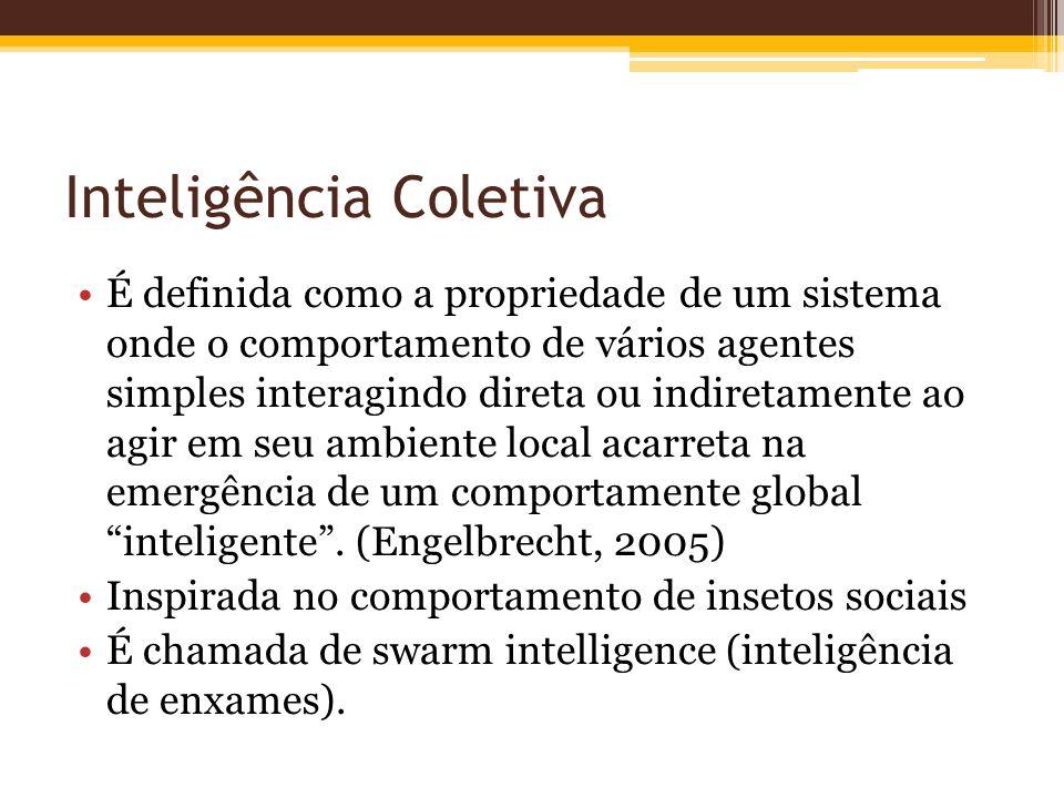 Inteligência Coletiva É definida como a propriedade de um sistema onde o comportamento de vários agentes simples interagindo direta ou indiretamente ao agir em seu ambiente local acarreta na emergência de um comportamente global inteligente.