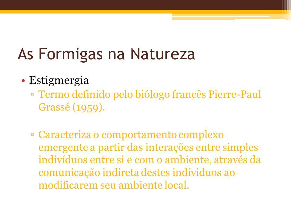 As Formigas na Natureza Estigmergia Termo definido pelo biólogo francês Pierre-Paul Grassé (1959).