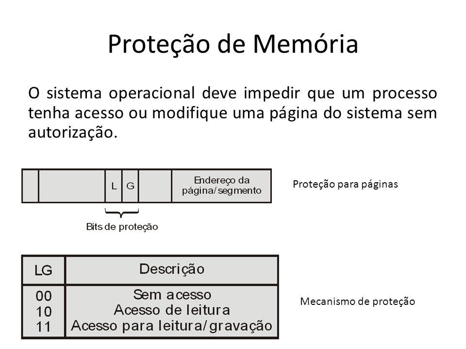 Proteção de Memória O sistema operacional deve impedir que um processo tenha acesso ou modifique uma página do sistema sem autorização.