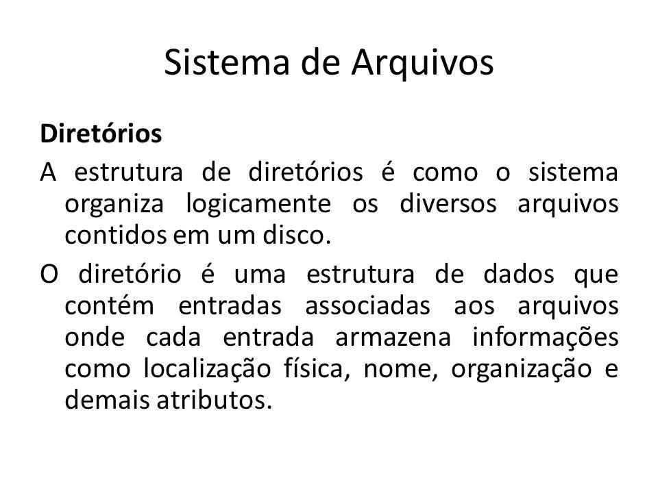 Sistema de Arquivos Diretórios A estrutura de diretórios é como o sistema organiza logicamente os diversos arquivos contidos em um disco.