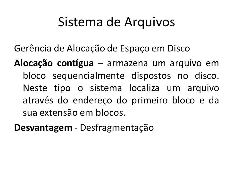 Sistema de Arquivos Gerência de Alocação de Espaço em Disco Alocação contígua – armazena um arquivo em bloco sequencialmente dispostos no disco.
