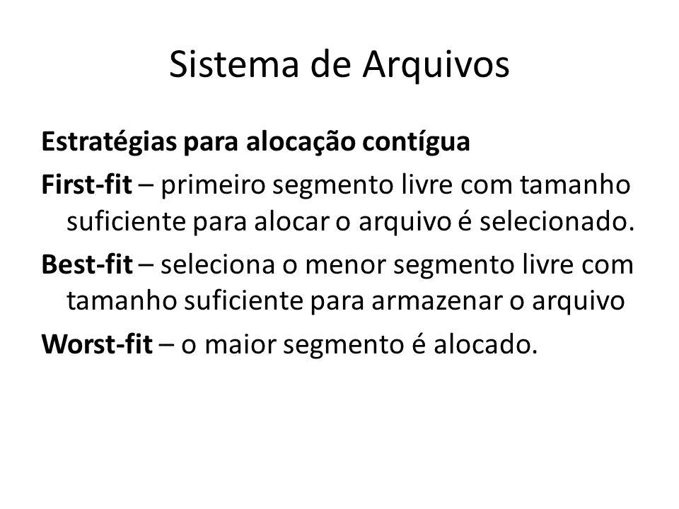 Sistema de Arquivos Estratégias para alocação contígua First-fit – primeiro segmento livre com tamanho suficiente para alocar o arquivo é selecionado.