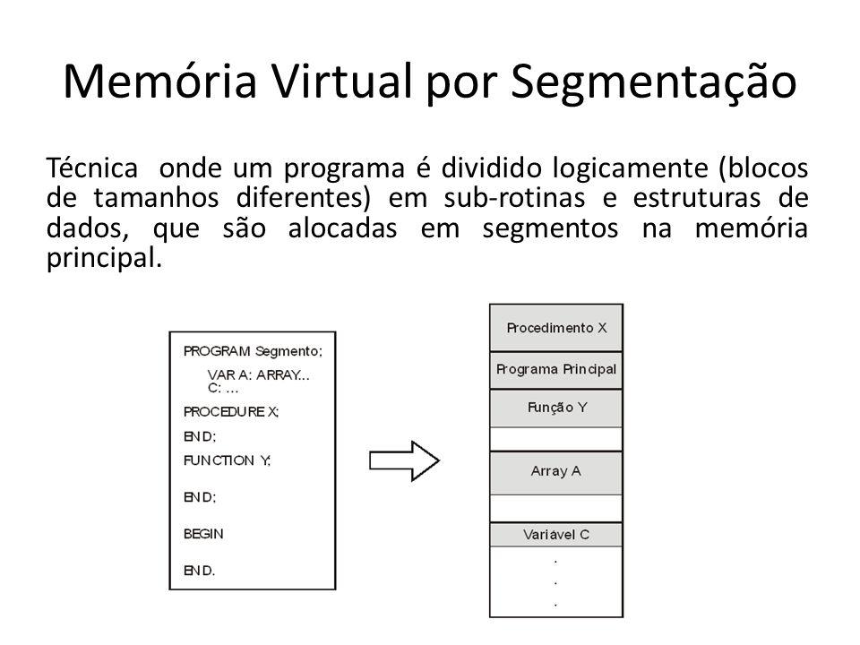 Memória Virtual por Segmentação Técnica onde um programa é dividido logicamente (blocos de tamanhos diferentes) em sub-rotinas e estruturas de dados, que são alocadas em segmentos na memória principal.