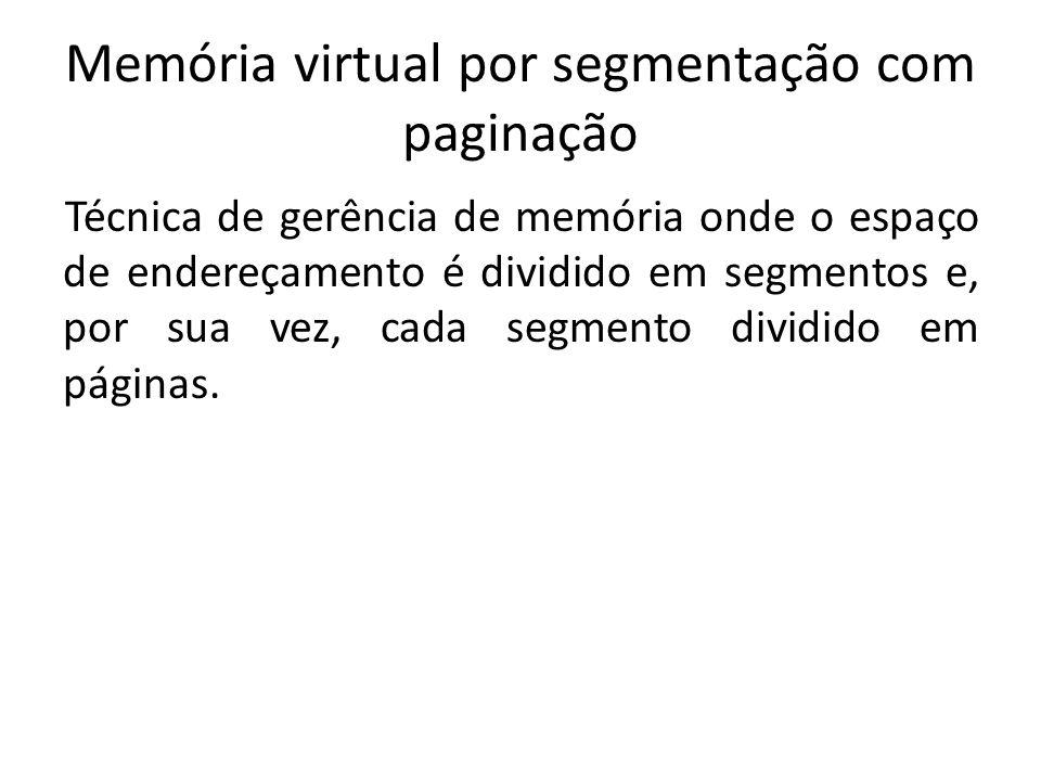 Memória virtual por segmentação com paginação Técnica de gerência de memória onde o espaço de endereçamento é dividido em segmentos e, por sua vez, cada segmento dividido em páginas.