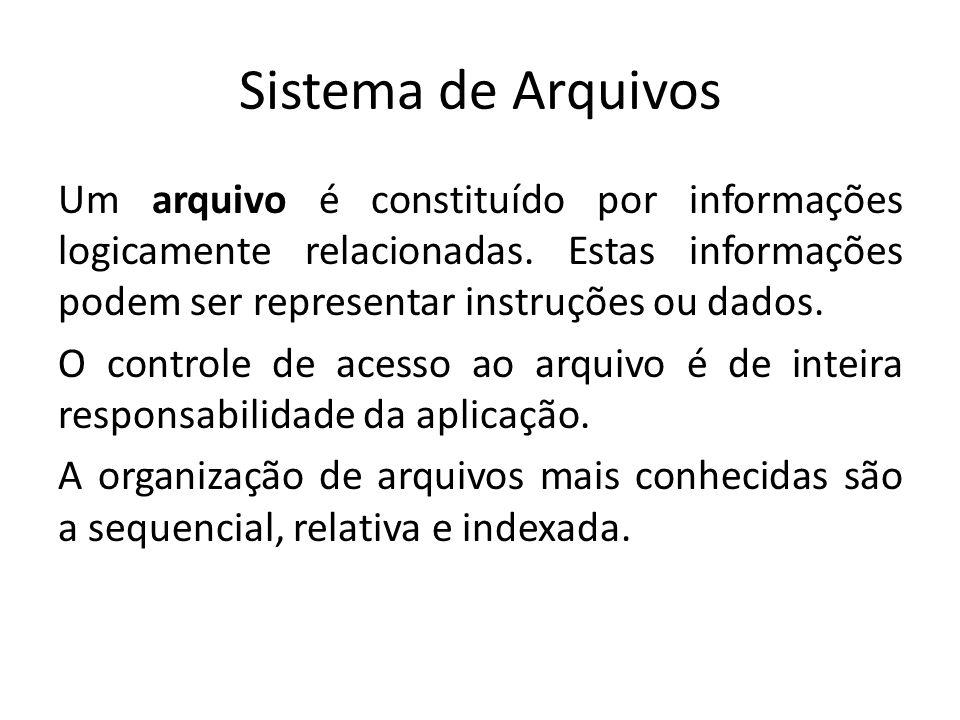 Sistema de Arquivos Um arquivo é constituído por informações logicamente relacionadas.