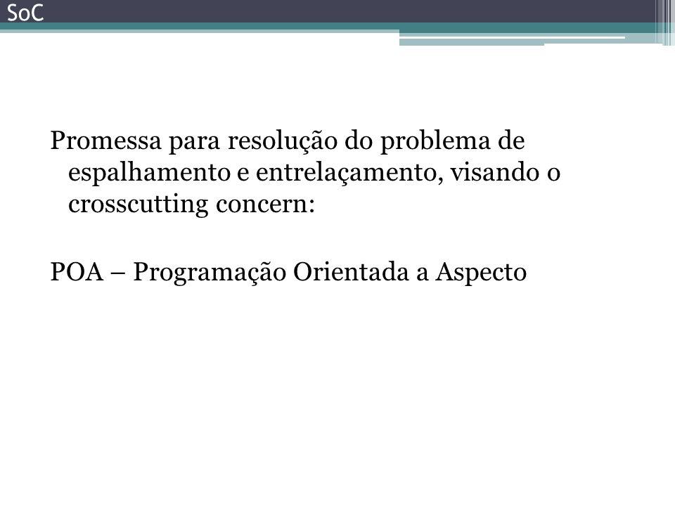 Promessa para resolução do problema de espalhamento e entrelaçamento, visando o crosscutting concern: POA – Programação Orientada a Aspecto SoC