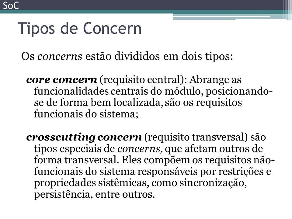 Tipos de Concern Os concerns estão divididos em dois tipos: SoC core concern (requisito central): Abrange as funcionalidades centrais do módulo, posic