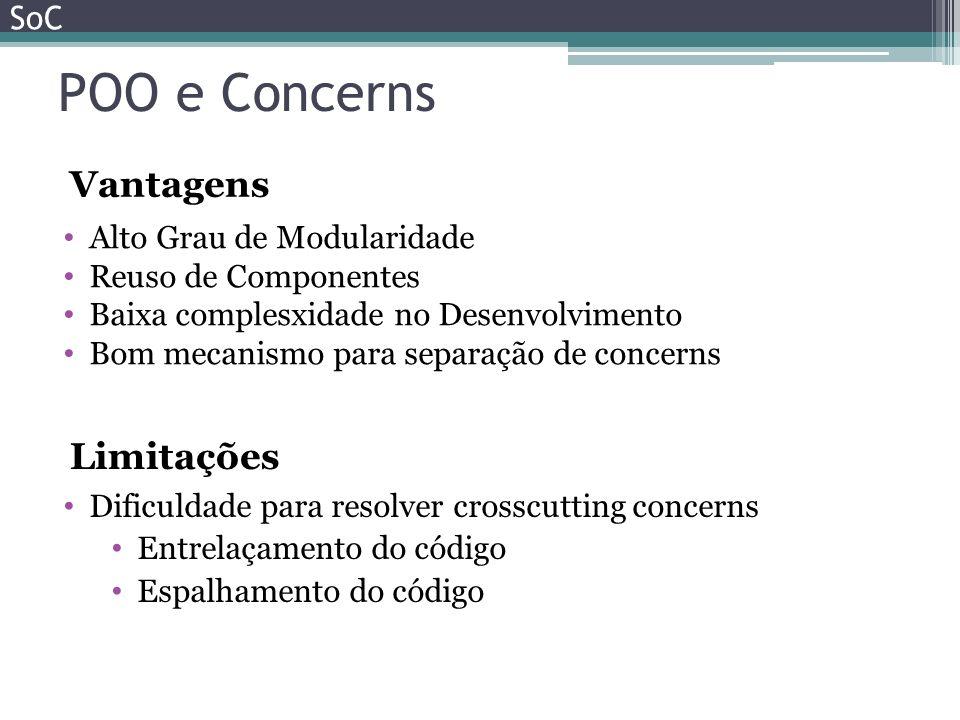 POO e Concerns SoC Alto Grau de Modularidade Reuso de Componentes Baixa complesxidade no Desenvolvimento Bom mecanismo para separação de concerns Vant