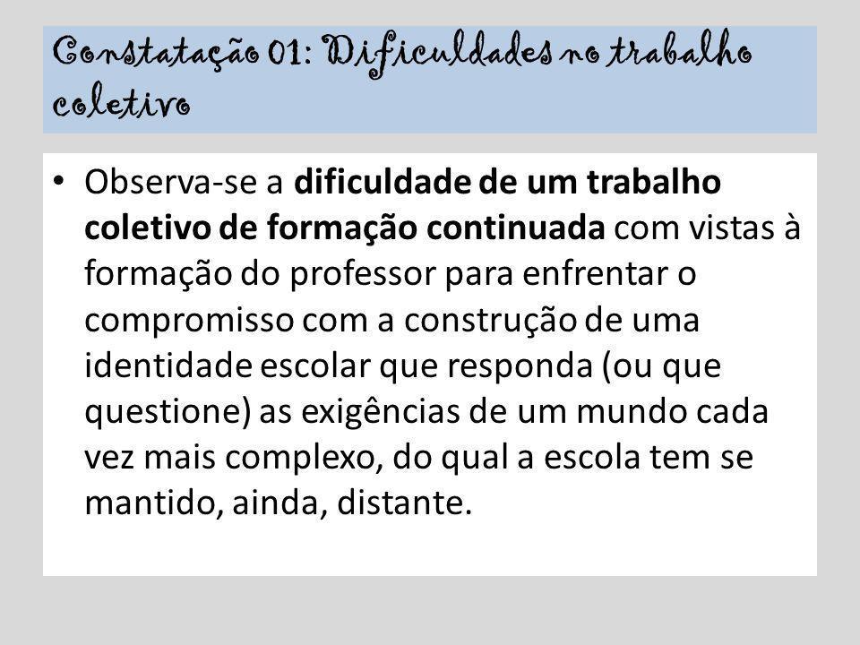 Constatação 01: Dificuldades no trabalho coletivo Observa-se a dificuldade de um trabalho coletivo de formação continuada com vistas à formação do pro