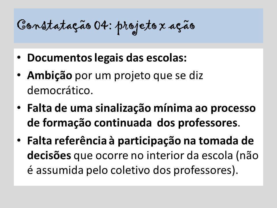 Documentos legais das escolas: Ambição por um projeto que se diz democrático. Falta de uma sinalização mínima ao processo de formação continuada dos p