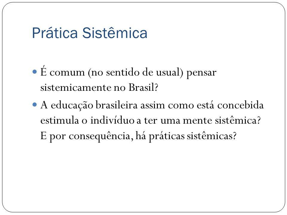 É comum (no sentido de usual) pensar sistemicamente no Brasil? A educação brasileira assim como está concebida estimula o indivíduo a ter uma mente si