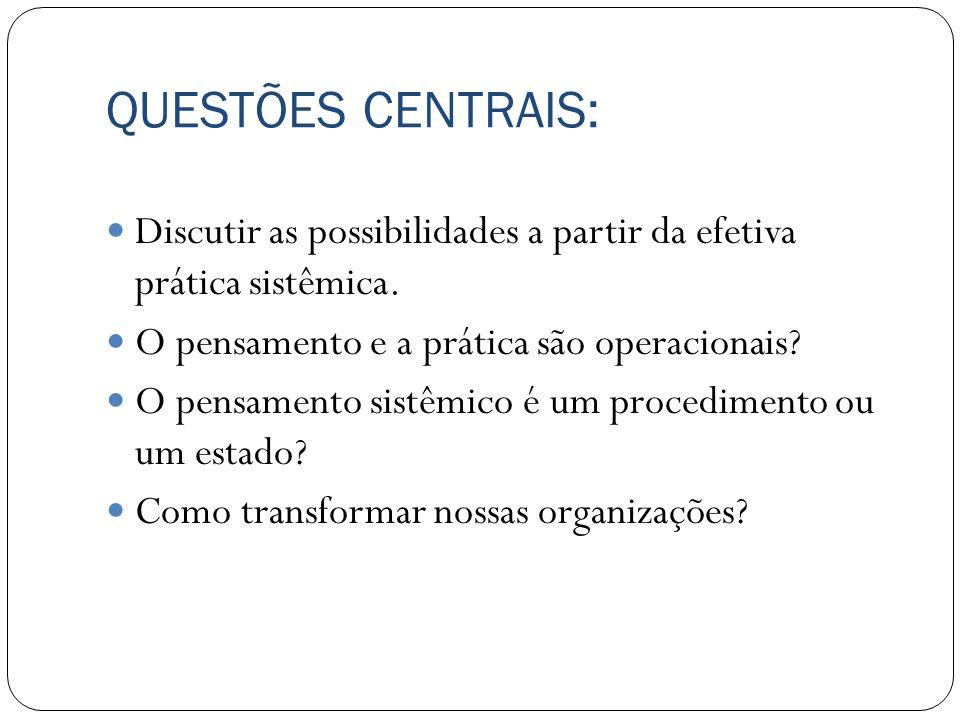 QUESTÕES CENTRAIS: Discutir as possibilidades a partir da efetiva prática sistêmica. O pensamento e a prática são operacionais? O pensamento sistêmico