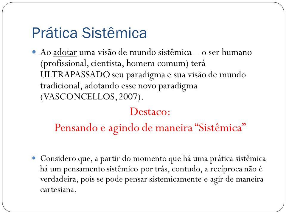 Prática Sistêmica Ao adotar uma visão de mundo sistêmica – o ser humano (profissional, cientista, homem comum) terá ULTRAPASSADO seu paradigma e sua v