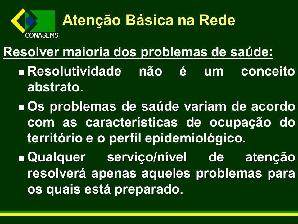 CONASEMS Atenção Básica na Rede Resolver maioria dos problemas de saúde: Resolutividade Resolutividade não é um conceito abstrato.