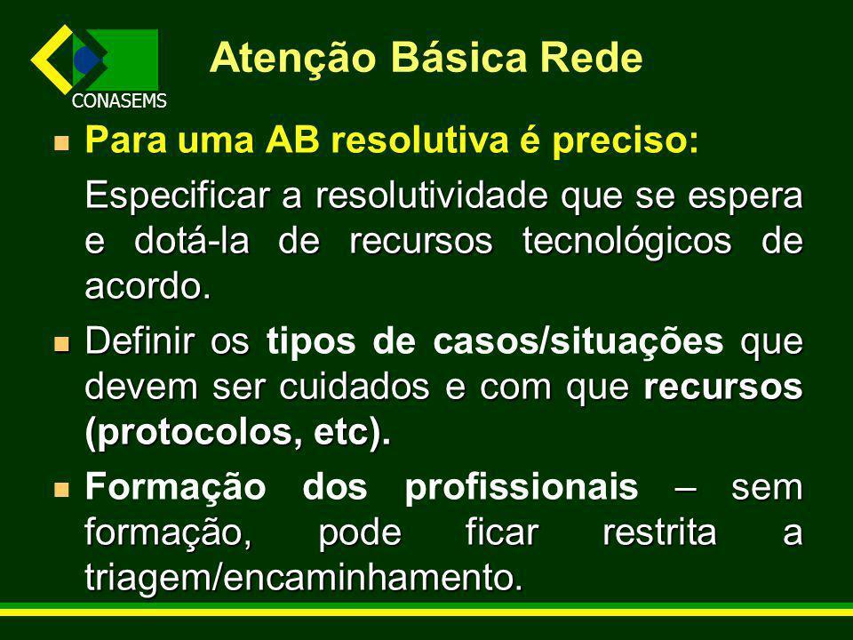CONASEMS Atenção Básica Rede Para uma AB resolutiva é preciso: Especificar a resolutividade que se espera e dotá-la de recursos tecnológicos de acordo.