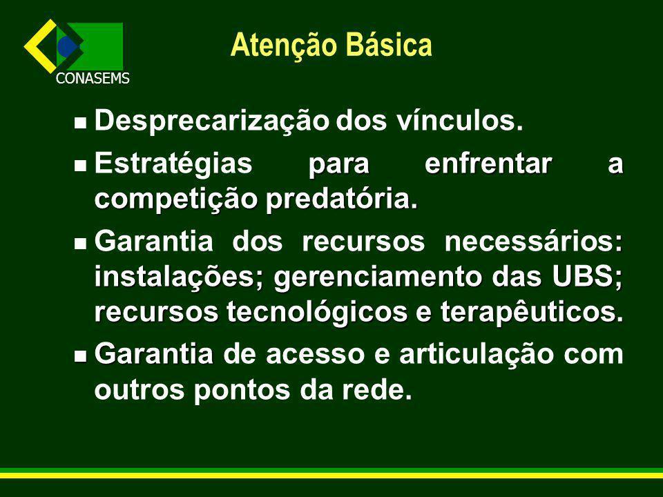 CONASEMS Atenção Básica Desprecarização dos vínculos.
