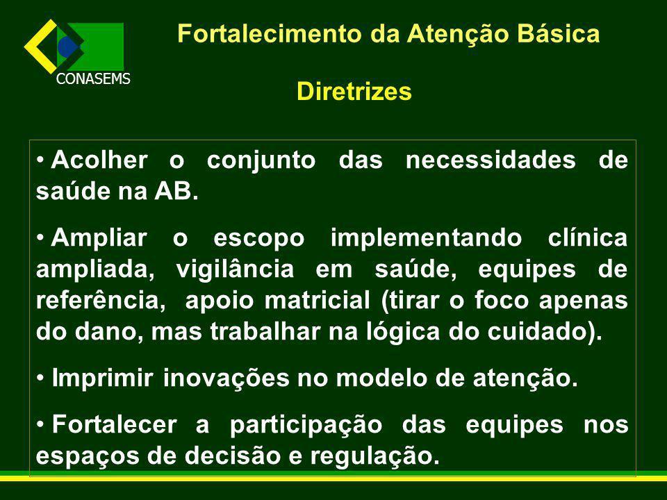 CONASEMS Fortalecimento da Atenção Básica Diretrizes Acolher o conjunto das necessidades de saúde na AB.