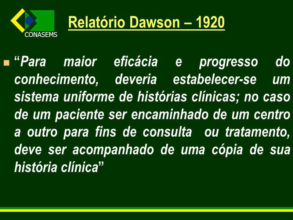 Relatório Dawson – 1920 Para maior eficácia e progresso do conhecimento, deveria estabelecer-se um sistema uniforme de histórias clínicas; no caso de um paciente ser encaminhado de um centro a outro para fins de consulta ou tratamento, deve ser acompanhado de uma cópia de sua história clínica