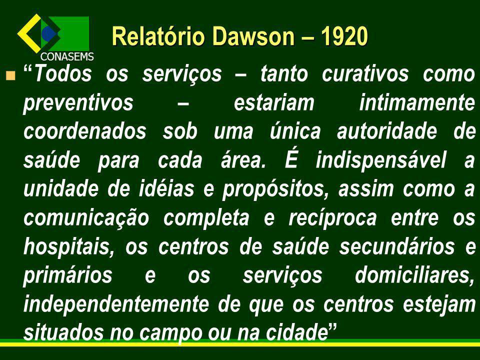 CONASEMS Relatório Dawson – 1920 Todos os serviços – tanto curativos como preventivos – estariam intimamente coordenados sob uma única autoridade de saúde para cada área.