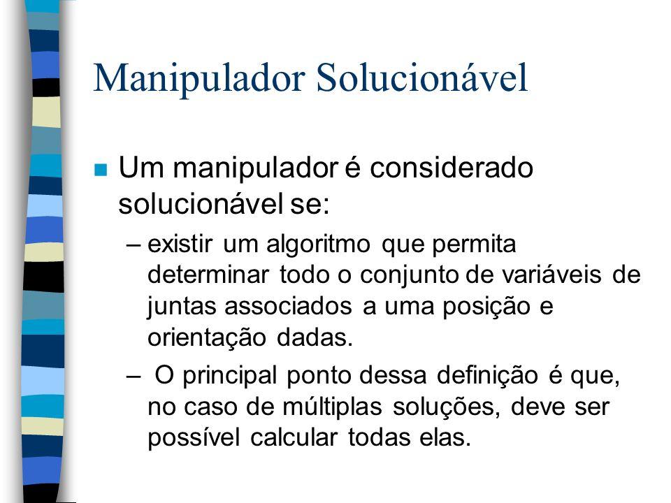 Manipulador Solucionável n Um manipulador é considerado solucionável se: –existir um algoritmo que permita determinar todo o conjunto de variáveis de