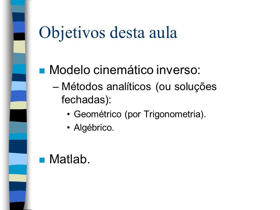 Objetivos desta aula n Modelo cinemático inverso: –Métodos analíticos (ou soluções fechadas): Geométrico (por Trigonometria). Algébrico. n Matlab.