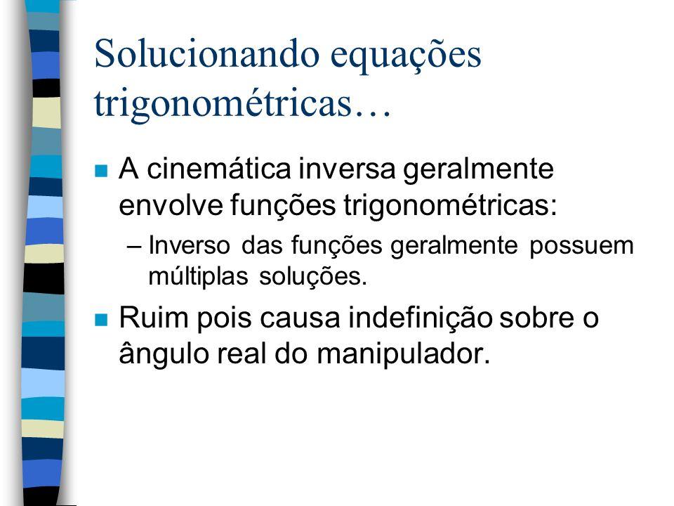 Solucionando equações trigonométricas… n A cinemática inversa geralmente envolve funções trigonométricas: –Inverso das funções geralmente possuem múlt