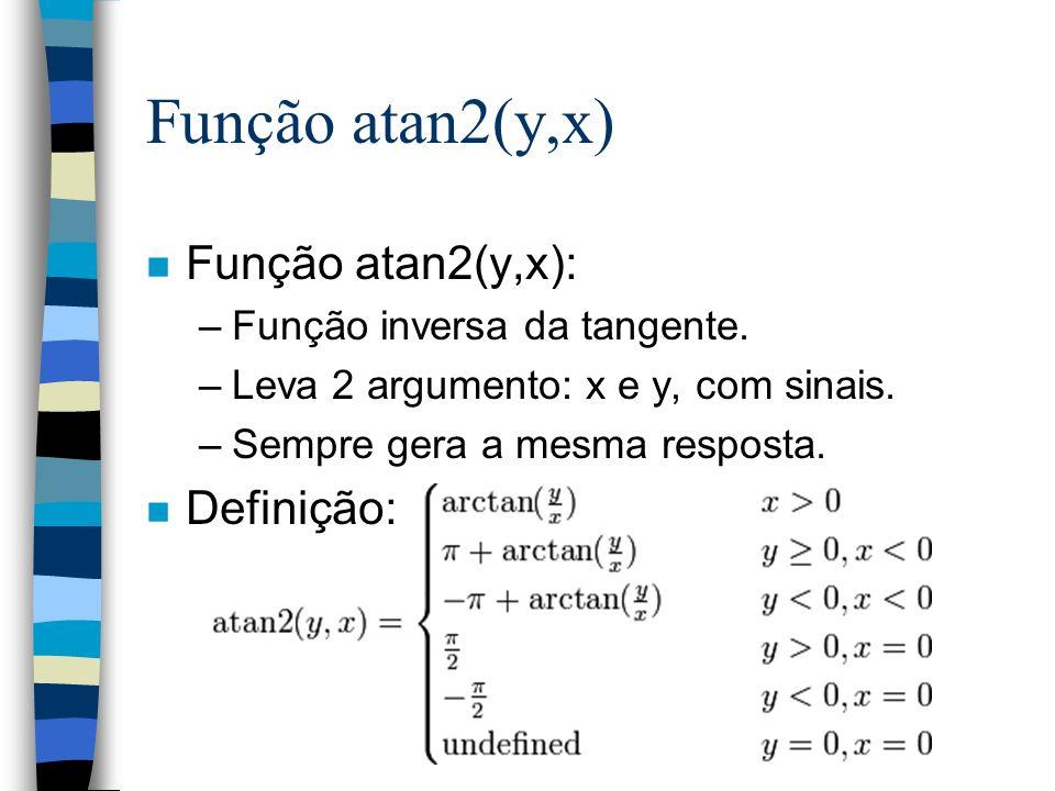 n Função atan2(y,x): –Função inversa da tangente. –Leva 2 argumento: x e y, com sinais. –Sempre gera a mesma resposta. n Definição: Função atan2(y,x)