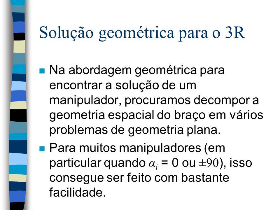 Solução geométrica para o 3R n Na abordagem geométrica para encontrar a solução de um manipulador, procuramos decompor a geometria espacial do braço e