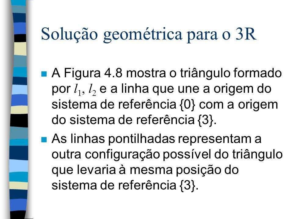 Solução geométrica para o 3R A Figura 4.8 mostra o triângulo formado por l 1, l 2 e a linha que une a origem do sistema de referência {0} com a origem