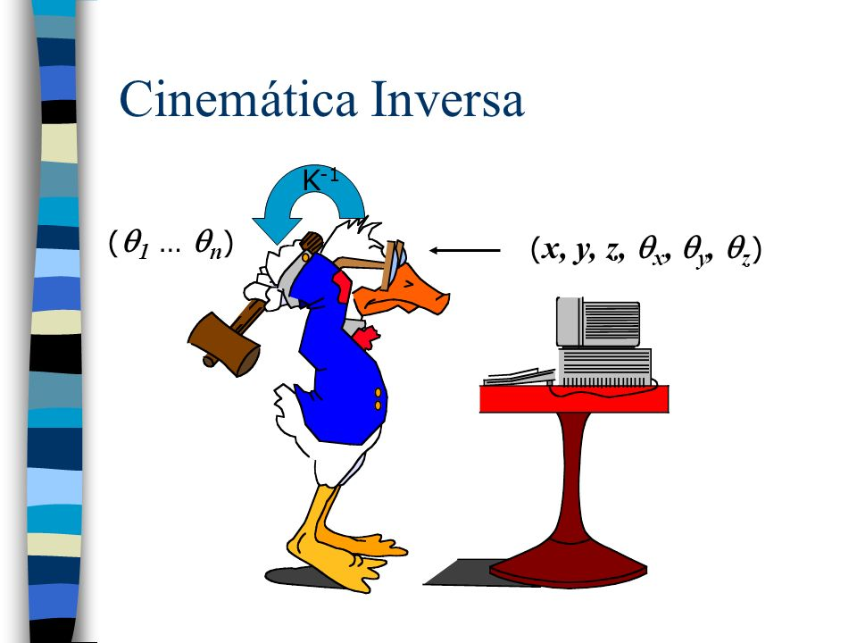 Cinemática Inversa n Como o próprio nome diz: –Como encontrar as posições das juntas dadas a posição e a orientação da ferramenta.