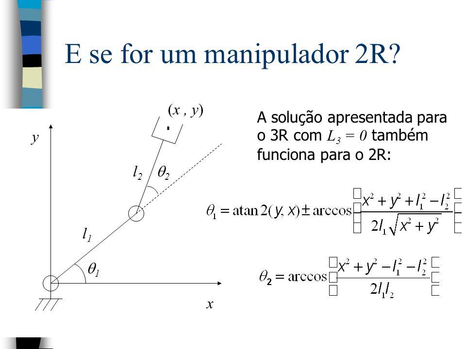 E se for um manipulador 2R? A solução apresentada para o 3R com L 3 = 0 também funciona para o 2R: l2l2 l1l1 (x, y) x y 1 2