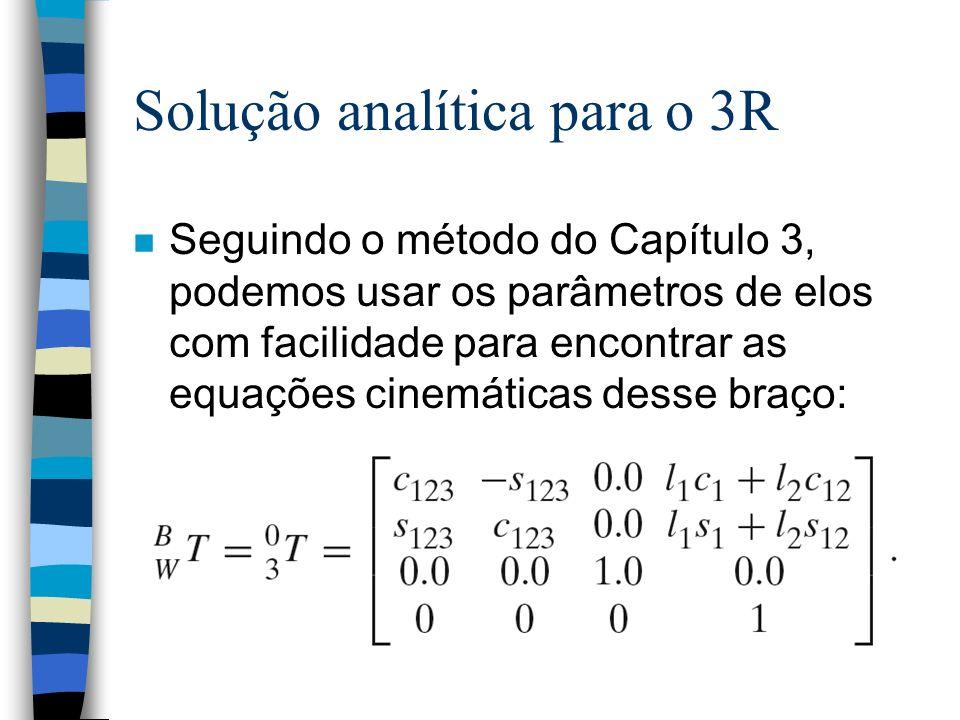 Solução analítica para o 3R n Seguindo o método do Capítulo 3, podemos usar os parâmetros de elos com facilidade para encontrar as equações cinemática
