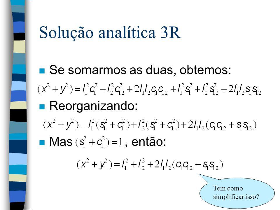 Solução analítica 3R n Se somarmos as duas, obtemos: n Reorganizando: n Mas, então: Tem como simplificar isso?