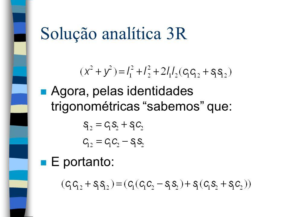 n Agora, pelas identidades trigonométricas sabemos que: n E portanto: Solução analítica 3R