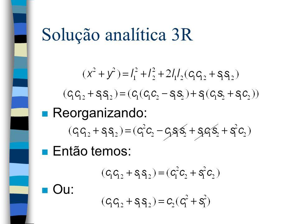 Solução analítica 3R n Reorganizando: n Então temos: n Ou: