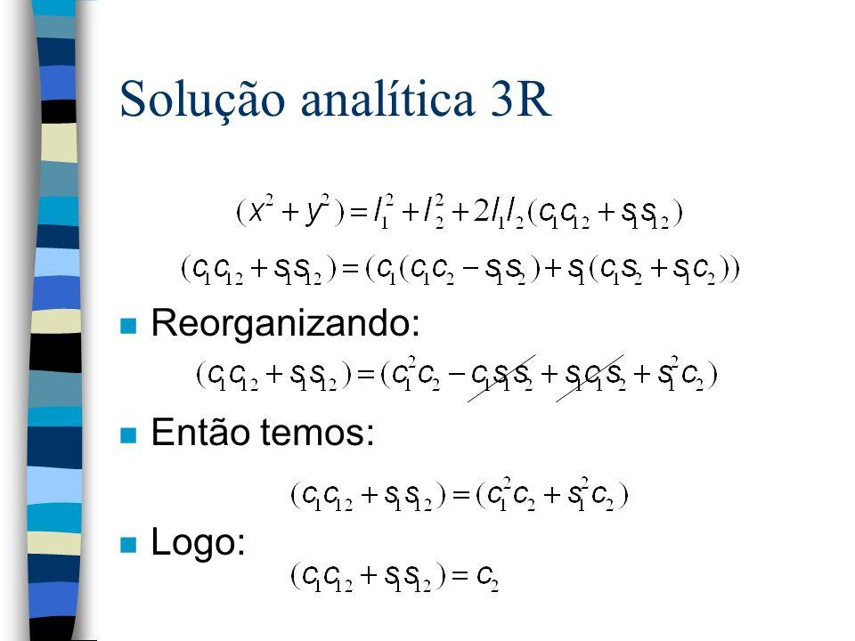 Solução analítica 3R n Reorganizando: n Então temos: n Logo: