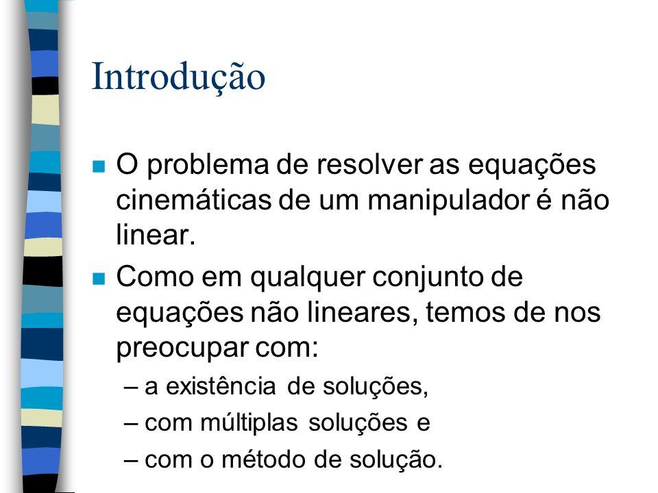 Introdução n O problema de resolver as equações cinemáticas de um manipulador é não linear. n Como em qualquer conjunto de equações não lineares, temo