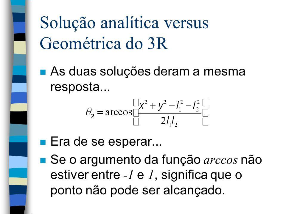 Solução analítica versus Geométrica do 3R n As duas soluções deram a mesma resposta... n Era de se esperar... Se o argumento da função arccos não esti